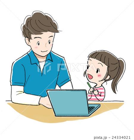PC学習_男性と女の子_わかった 24334021