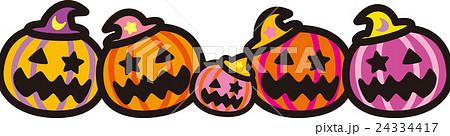 ハロウィン かぼちゃ5個 おばけ 24334417