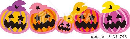 ハロウィン ピンク かぼちゃ5個 おばけ 24334748