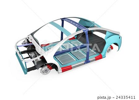 電気自動車フレーム、トランスミッション、バッテリーの構造イメージ。 24335411