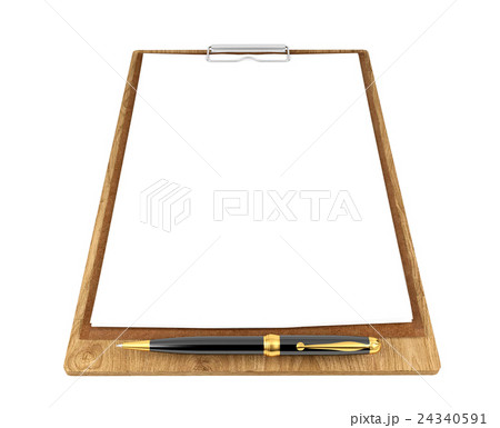 Wooden clipboard with blank papers and pen 24340591