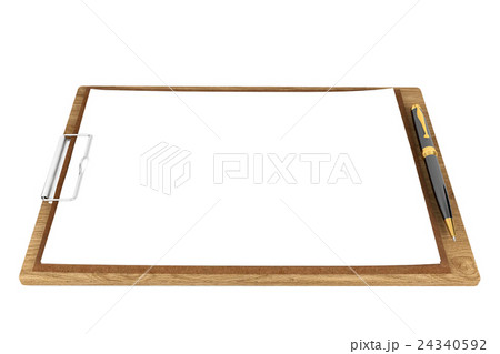 Wooden clipboard with blank papers and pen 24340592