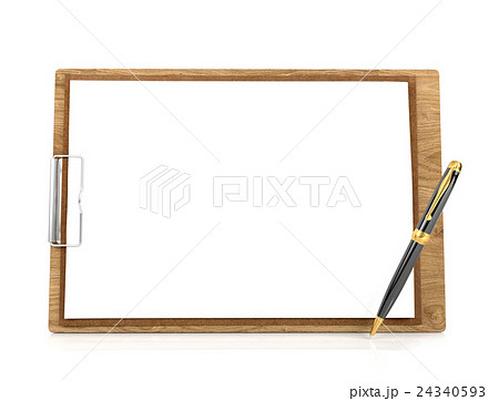 Wooden clipboard with blank papers and pen 24340593