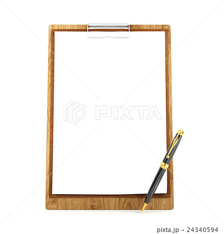 wooden clipboard with blank papers and penのイラスト素材 24340594