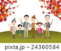 秋 家族 紅葉狩りのイラスト 24360584