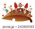 秋 家族 紅葉狩りのイラスト 24360593