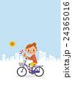 自転車に乗りグッドサインをする女性 24365016