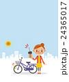 自転車に鍵をかける女性(背景あり) 24365017