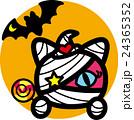 ハロウィン ピンク猫ミイラ おばけ こうもり キャンディ オレンジ色丸 24365352