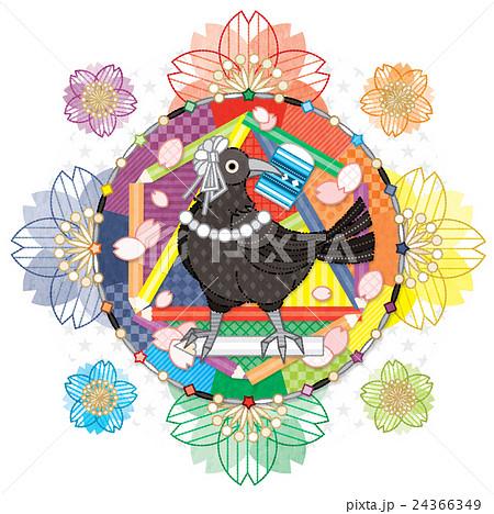カラフル色相環グラデーションと白黒カラス 24366349