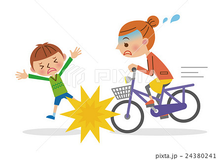 自転車による人身事故(子どもと女性) 24380241