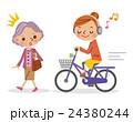 ヘッドフォンで音楽を聴きながら自転車を運転する女性とそれに驚く高齢者 24380244