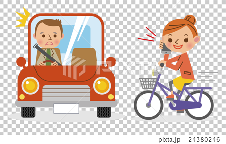 A woman driving a bicycle while talking with a smartphone and a surprising car driver 24380246