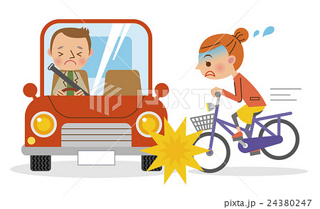 車と自転車の衝突事故(男性と女性) 24380247