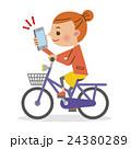 スマートフォンを操作しながら自転車を運転する女性 24380289
