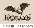 Vintage halloween bat horizontal banner, header 24381225
