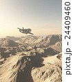 Spaceship Flying Over Mountains on a Desert Planet 24409460