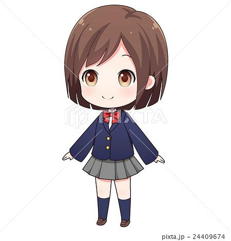 制服姿の女の子のイラスト素材 24409674 Pixta