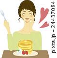 女性 パンケーキ 人物のイラスト 24437084