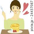 女性 パンケーキ 人物のイラスト 24437087