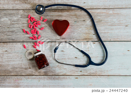 healthcare concept with stethoscope and heartの写真素材 [24447240] - PIXTA