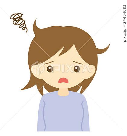 寝癖に困る女性のイラスト素材 24464683 Pixta