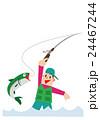 釣り、フライフィッシング、渓流釣り、ニジマス、釣り人 24467244
