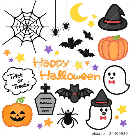 ポップでかわいいハロウィンイラスト・ロゴのセット素材 背景透過・白背景・ベクター