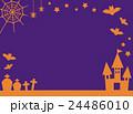 シルエット風ハロウィンデザインのコピースペース・背景 紫とオレンジ色 横方向 ベクター素材 24486010