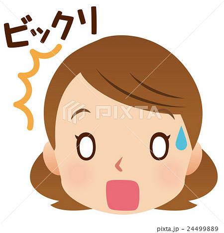 女性 表情 顔 びっくりのイラスト素材 24499889 Pixta