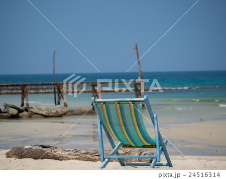 Beach chair on the sand 24516314