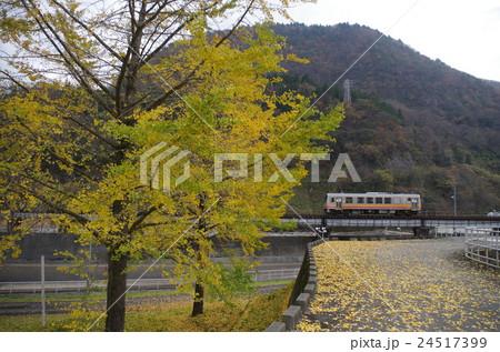 大糸線 秋の姫川を渡るディーゼルカー 24517399