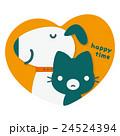 犬 猫 ハートのイラスト 24524394