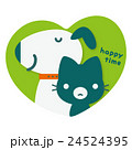 犬 猫 ハートのイラスト 24524395