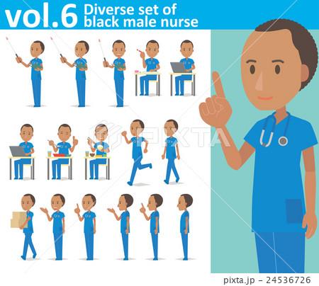 青いスクラブを着た黒人男性の看護師vol.6(様々な表情やポーズのイラストをセット) 24536726