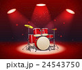 Bright red drum set in the light of spotlights 24543750
