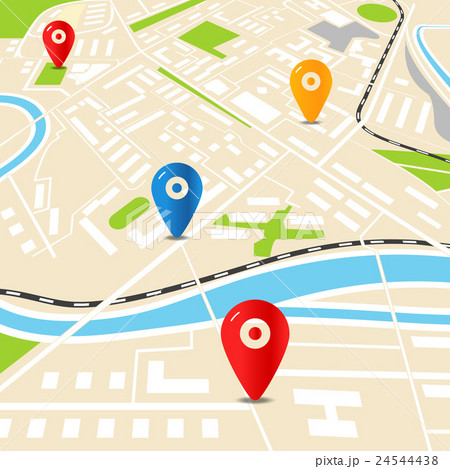 abstract city map with color pins flat designのイラスト素材