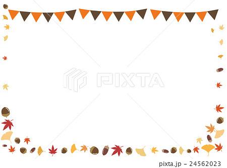 秋フレーム ガーランド 紅葉とドングリのイラスト素材 24562023