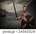 Viking warrior in the attack, standing along the 24563324