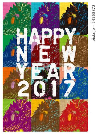 2017年賀状テンプレート「ポップアート風ルースター」 添え書き無し ハガキ縦向き 24568872