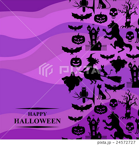 halloween greeting card on purple backgroundのイラスト素材 24572727