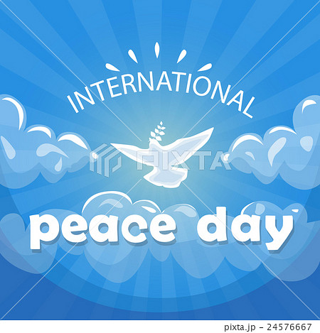 World Peace Day Poster White Dove Bird Fly In Sky 24576667