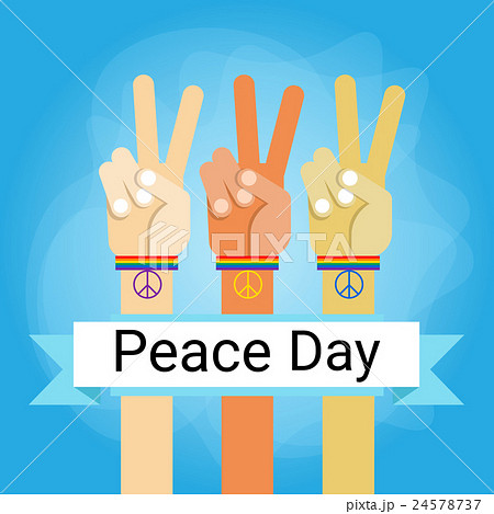 Hand Group Peace Sign World International Holiday 24578737
