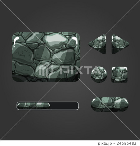 Set of stone different buttonsのイラスト素材 [24585482] - PIXTA