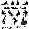 silhouettes of people reading books 24586713
