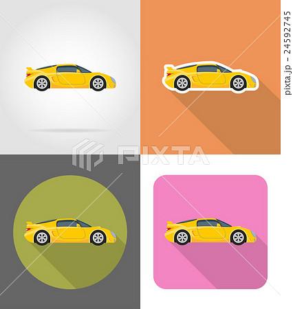 sport car flat icons vector illustration 24592745
