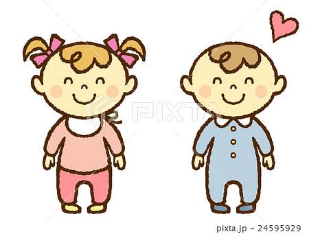 赤ちゃん 男の子 女の子 笑顔  24595929