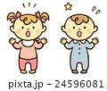 赤ちゃん 男の子 女の子 驚く 24596081