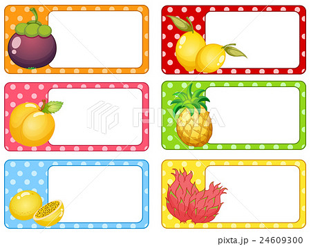square labels with fresh fruitsのイラスト素材 24609300 pixta