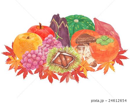 秋の味覚 水彩イラストのイラスト素材 24612654 Pixta